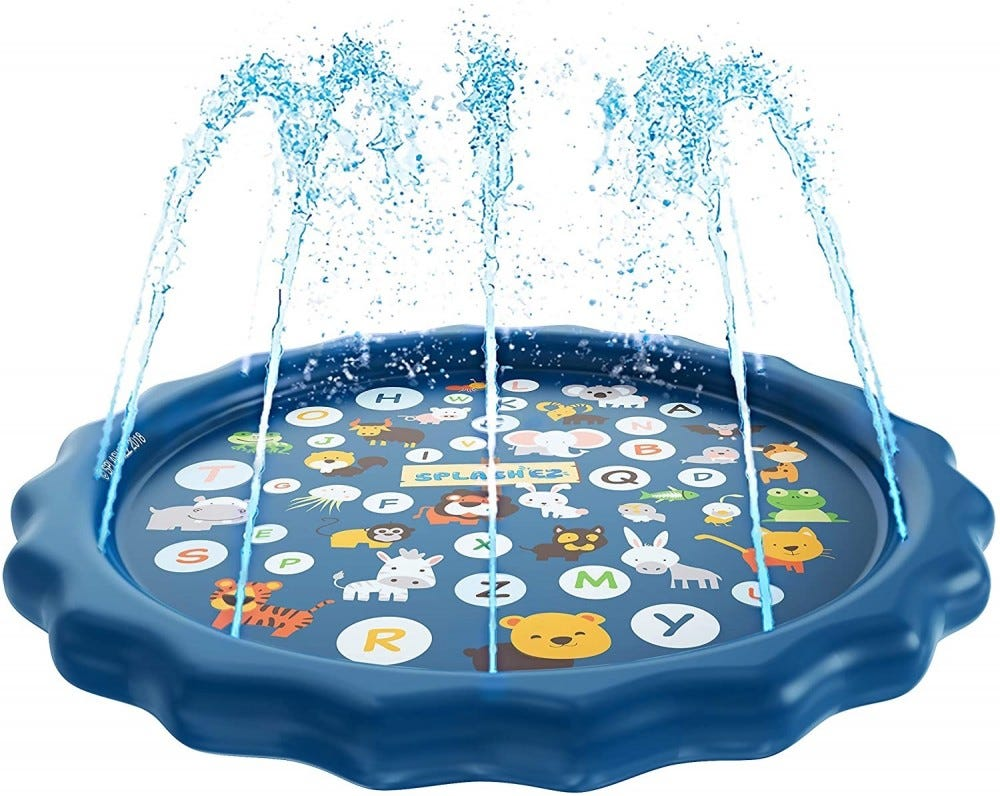 Blue wading pool with the alphabet and animals painted on the bottom plus water spraying upwards.