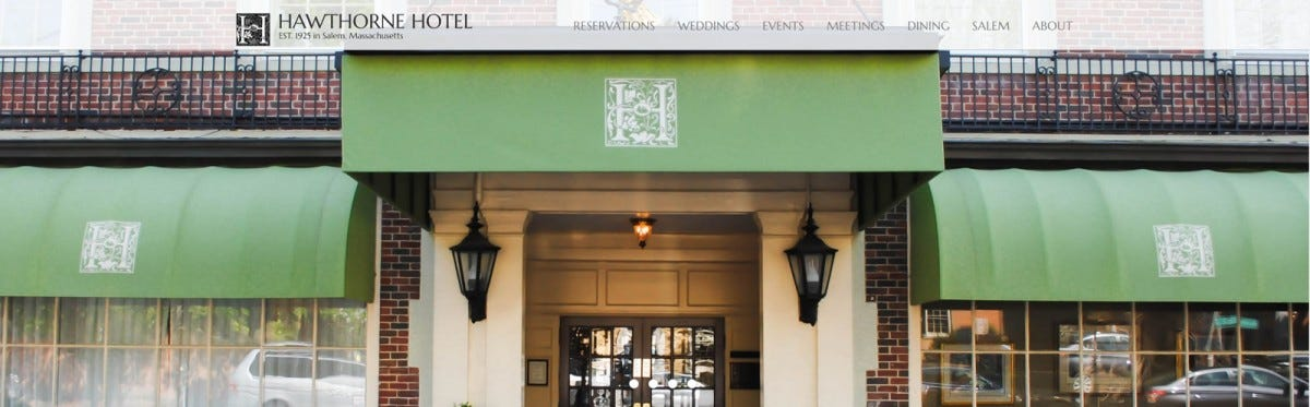 The main entrance of the Hawthorne Hotel on its website.