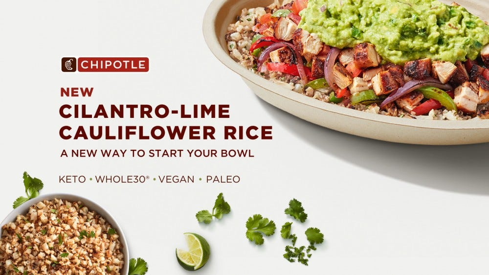 Chipotle is launching cauliflower rice in stores and online.