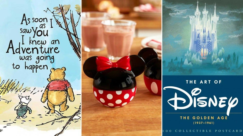 Left to Right: artwork from a Winnie the Pooh mug, Minnie and Mickey salt shakers, and a collection of Disney artwork postcards.