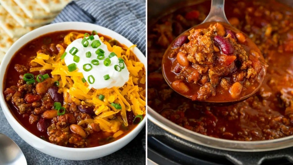 Two side by side images of instant pot chili from Dinner at the Zoo.