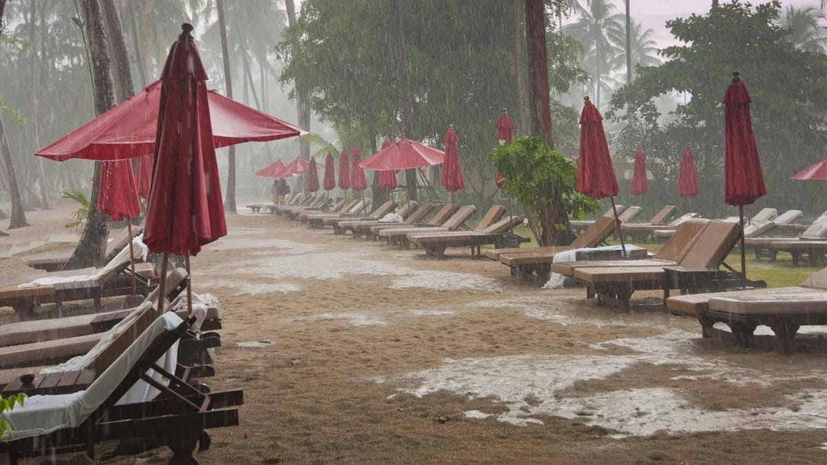 Rainy weather at a tropical resort.