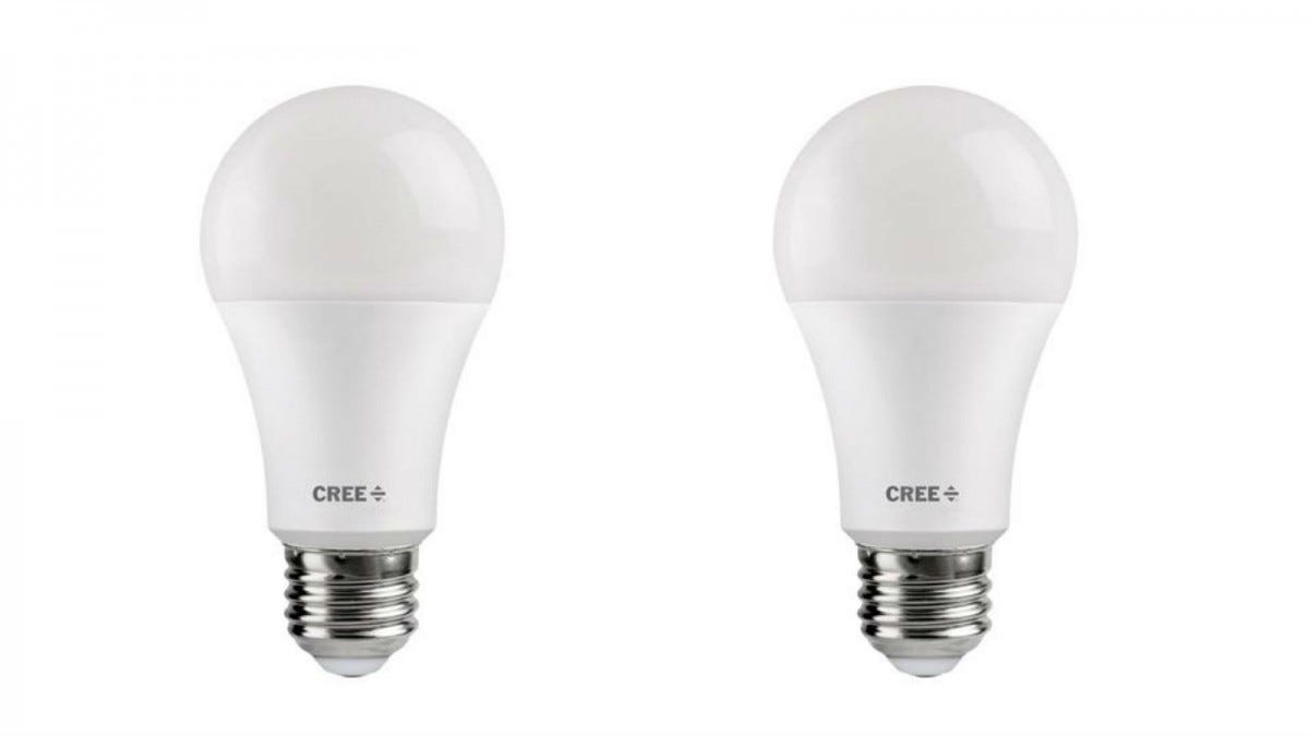 Two Cree Equivalent Daylight LED Soft White Dimmable Light Bulbs.