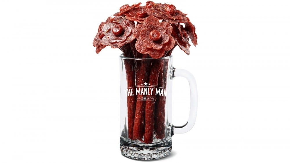 beef jerky shaped like flower bouquet