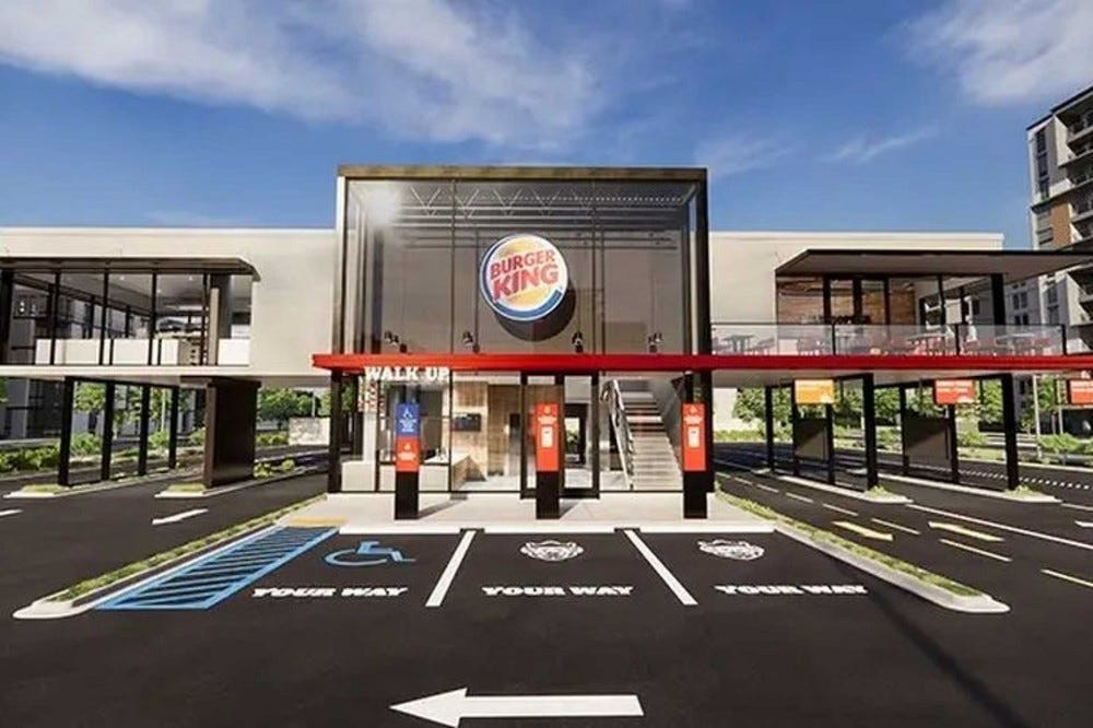 A rendering of a new Burger King with pick-up lockers.