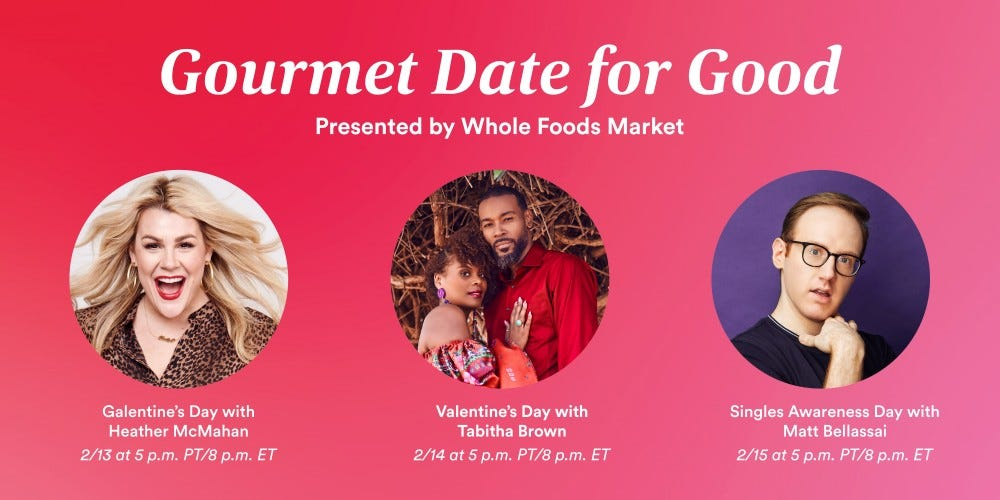 "The ""Gourmet Date for Good"" cooking class schedule with pictures of all the hosts."