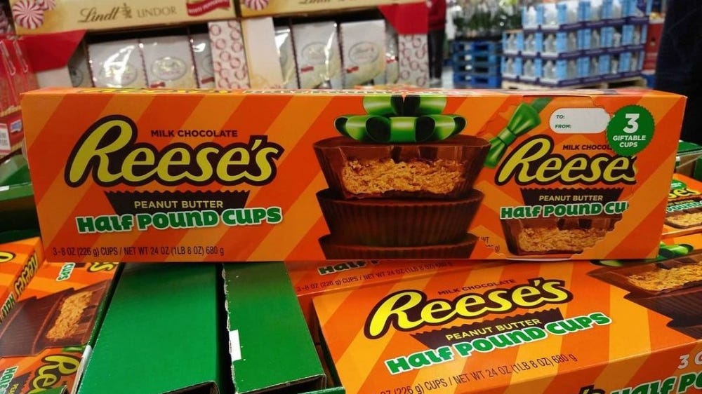 A pound and a half of Reese's Cups are available at Sam's.