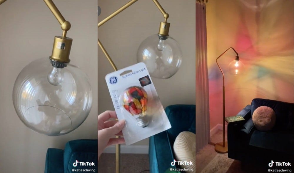 Three images of GE stained glass light bulbs.