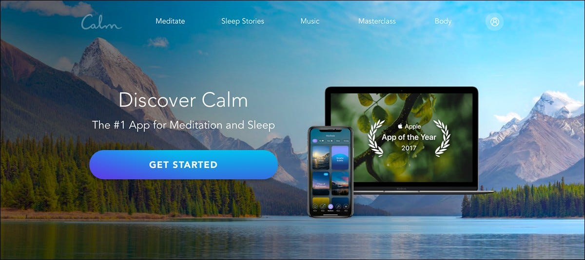 The Calm App website.