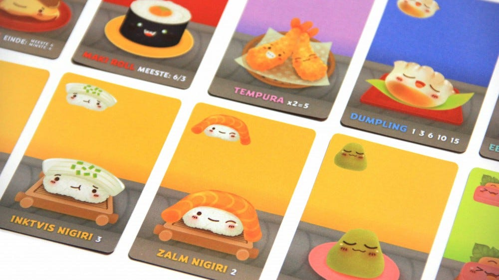 A look at some of the Sushi Go cards.