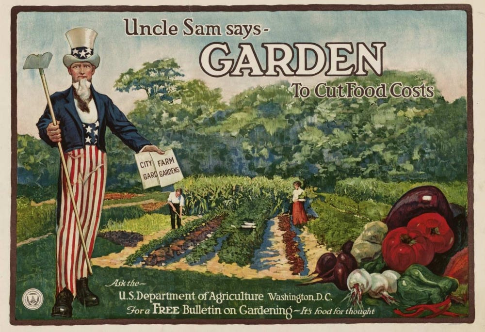 A 1920's USDA ad encouraging people to garden at home.