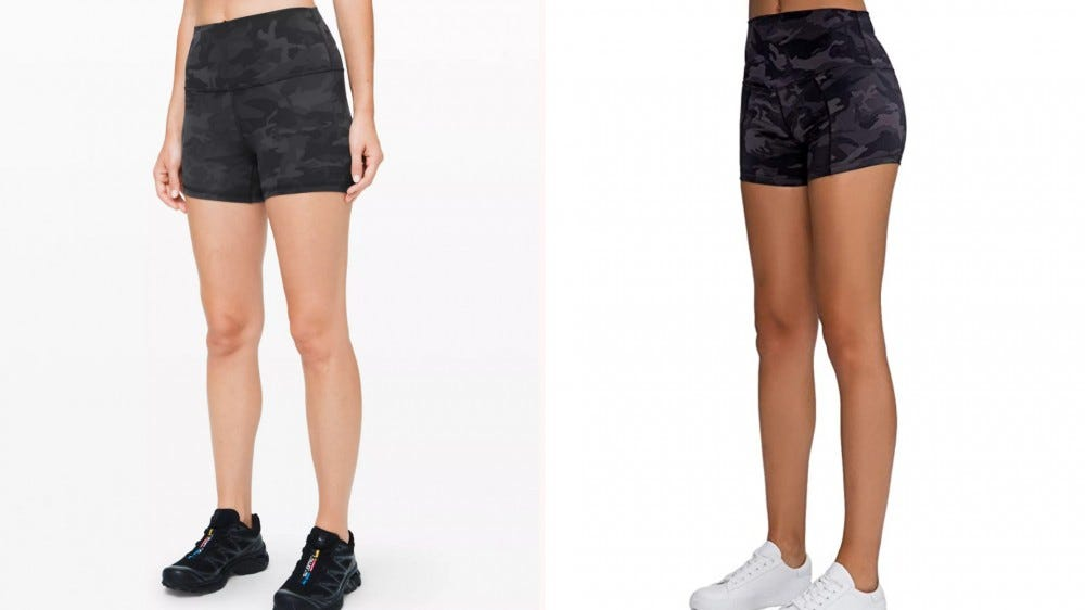two pairs of black shorts next to each other