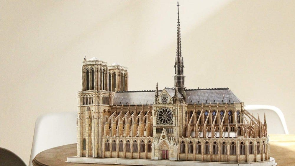 The complete 3D Notre Dame Puzzle.