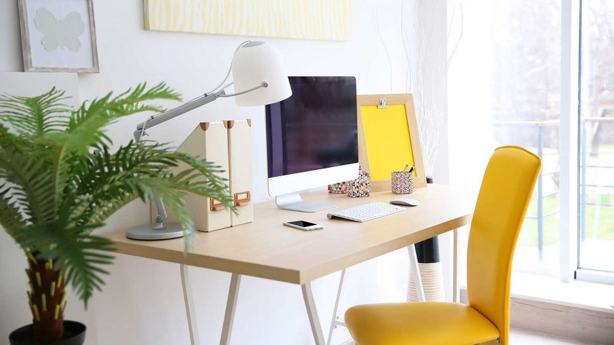 A tidy and brightly lit home office