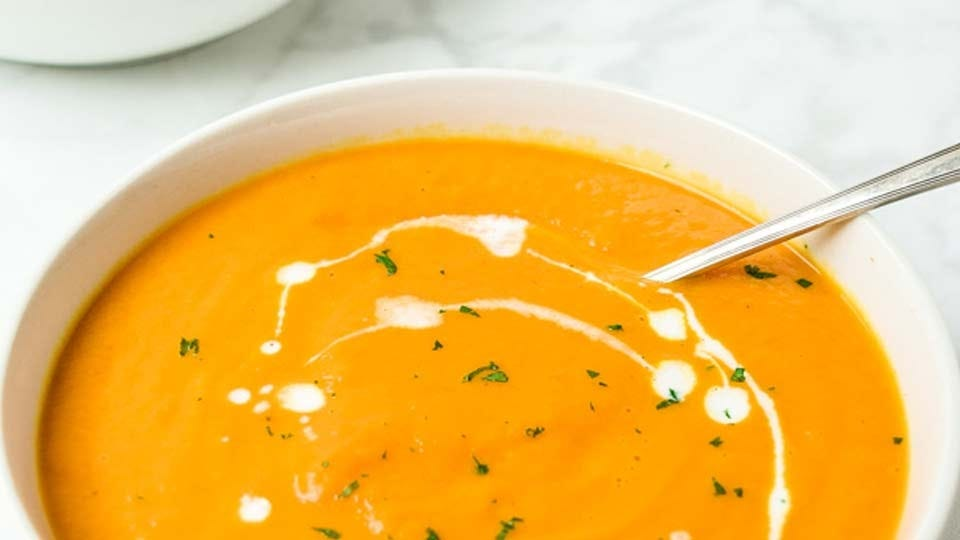 A bowl of hot and fresh homemade pumpkins soup.