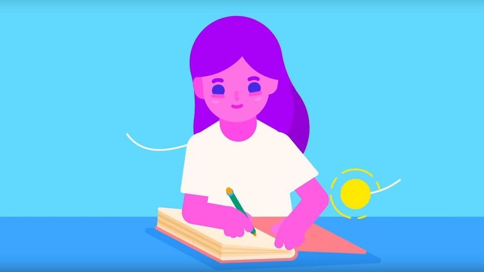 A digital drawing of a woman writing in an open book.