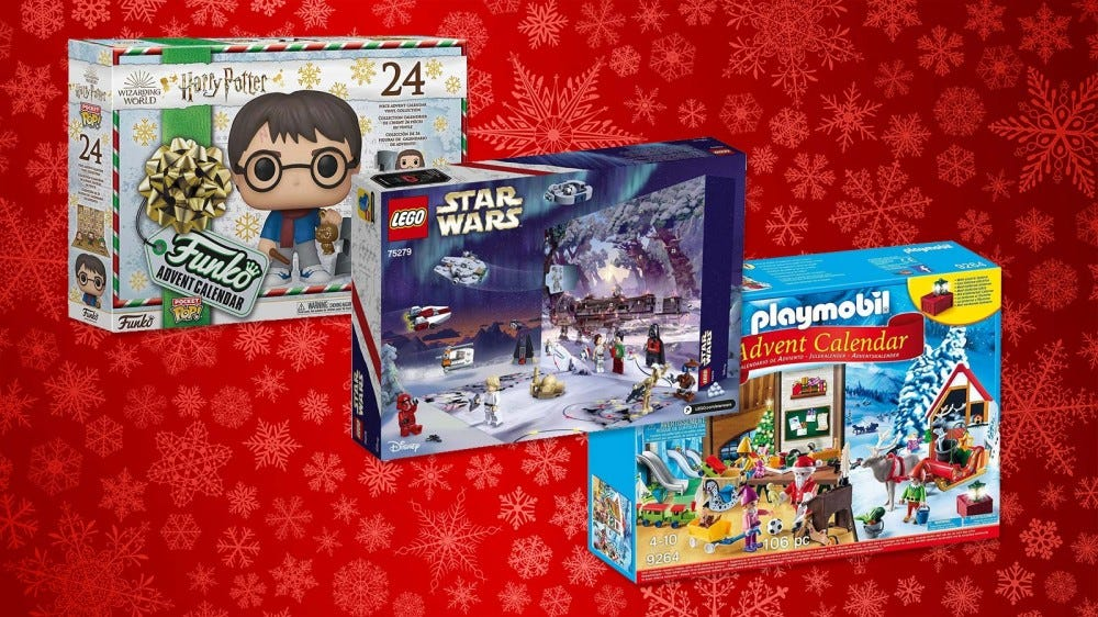Harry Potter, Star Wars and playmobil calendar boxes.