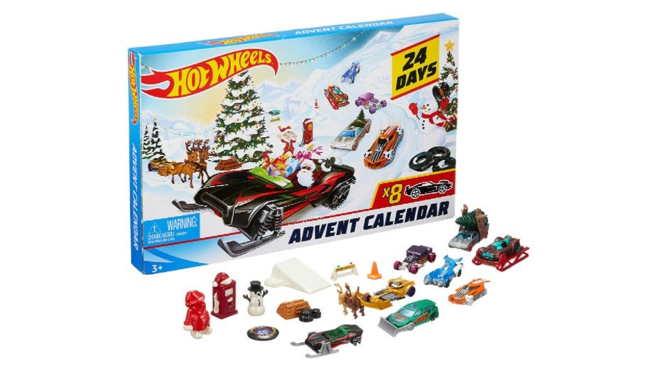 The Hot Wheels Advent Calendar cars, accessories, and box.