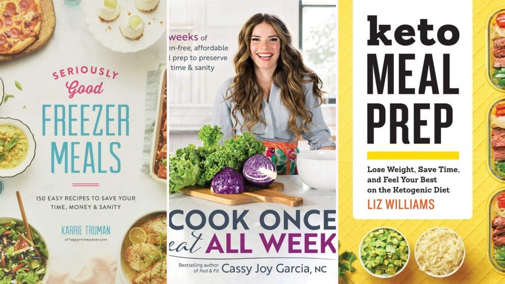 Three meal prep cookbook covers.