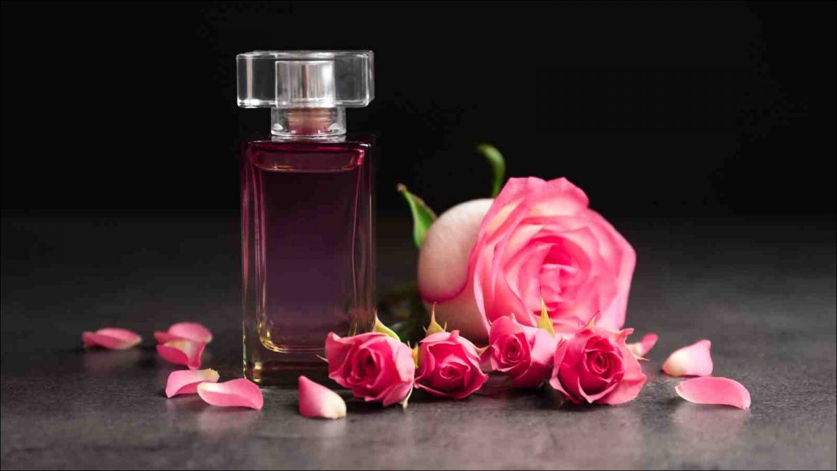 Bottle of perfume and roses on dark background