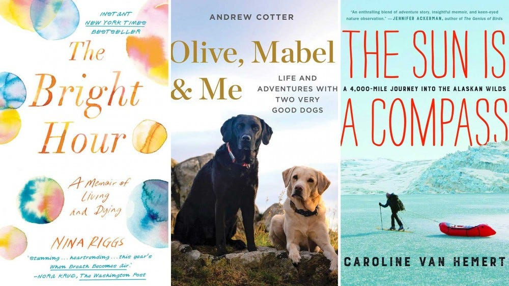 The covers of uplifting personal memoirs.
