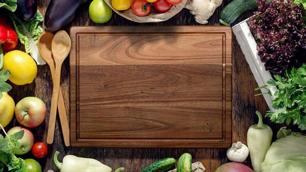 An acacia cutting board.