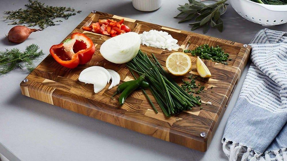 A striking end-grain teak cutting board.