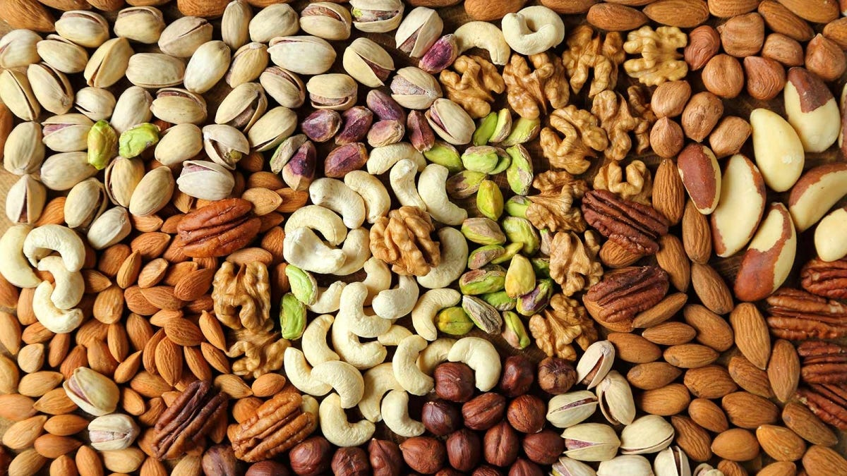 A variety of nuts, a healthy and filling snack food.