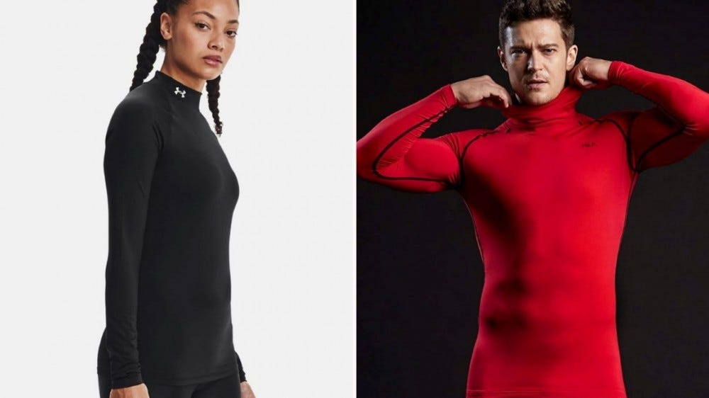 A woman in a black Under Armor Compression shirt and a man in a red TSLA compression shirt.
