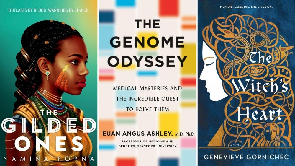 Book covers for The Gilded Ones, The Genome Odyssey, and The Witch's Heart