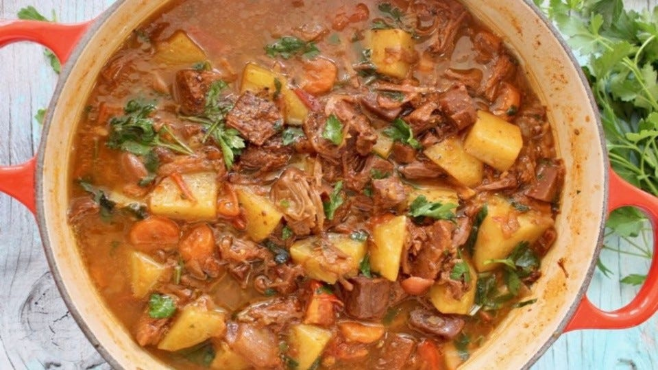 A hot and hearty stew filled with jackfruit, potatoes carrots and so much flavor.