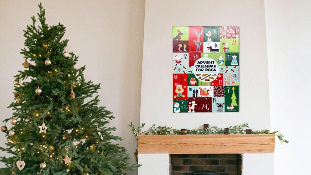 A dog advent calendar hangs above a fireplace decorated with garland.