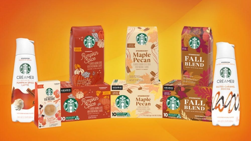 Starbucks fall lineup sits against an orange-toned background.
