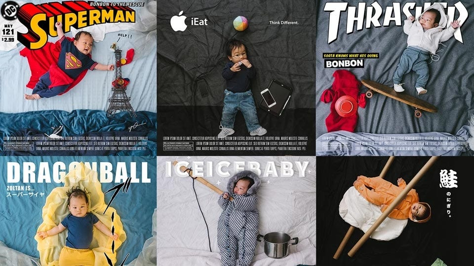 baby photos set up to look like movie posters