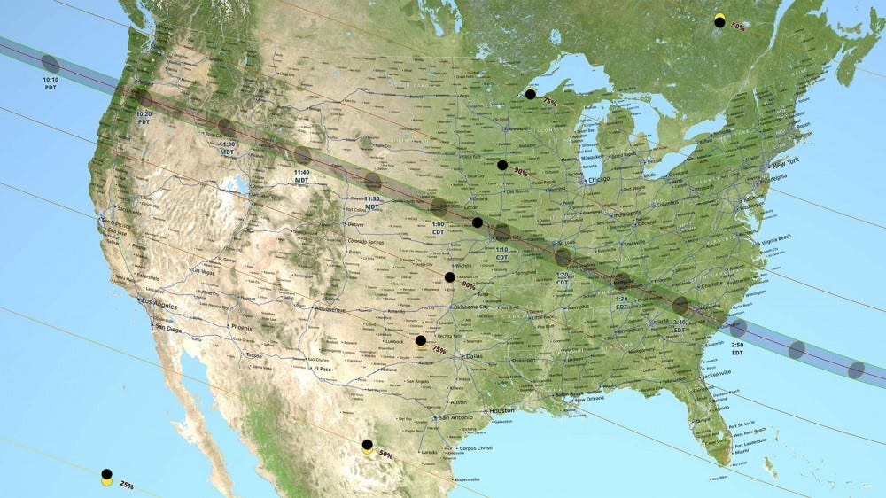 A map of the United States depicting the path of the 2017 total solar eclipse.