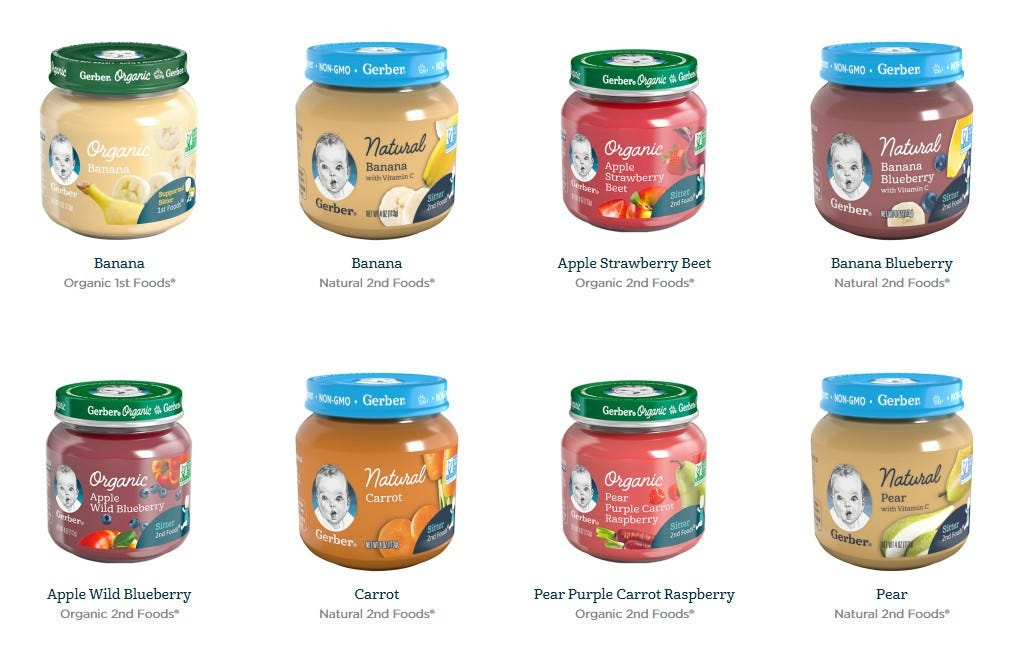 Examples of Gerber baby food on a white background.