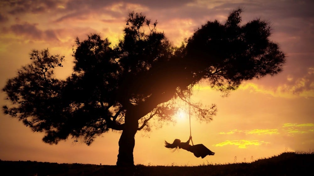 Silhouette of a woman on a tree swing.