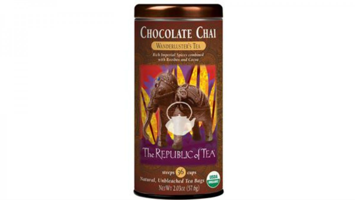 A tin of The Republic of Tea Chocolate Chai Tea.