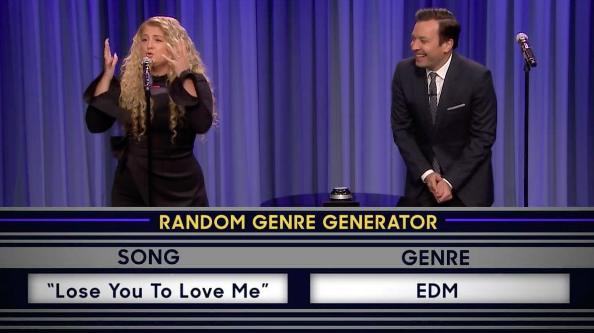 "Meghan Trainer and Jimmy Fallon playing The Musical Genre Challenge on ""The Tonight Show with Jimmy Fallon."""