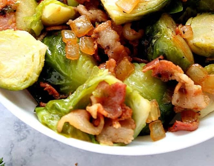 A bowl of Bacon Brussel Sprouts.