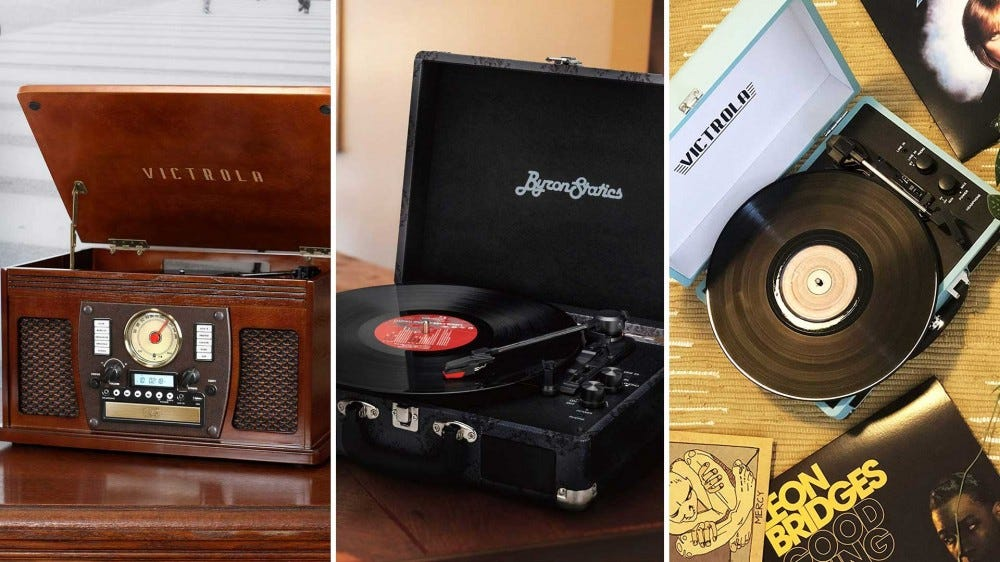 Two Victrola and one Byron Statics record player.
