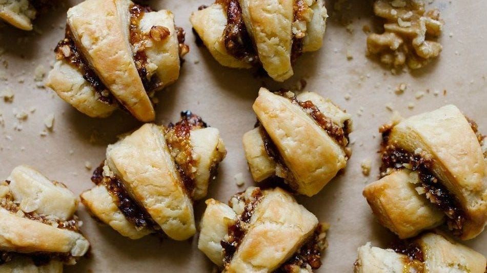 savory rugelach on parchment paper