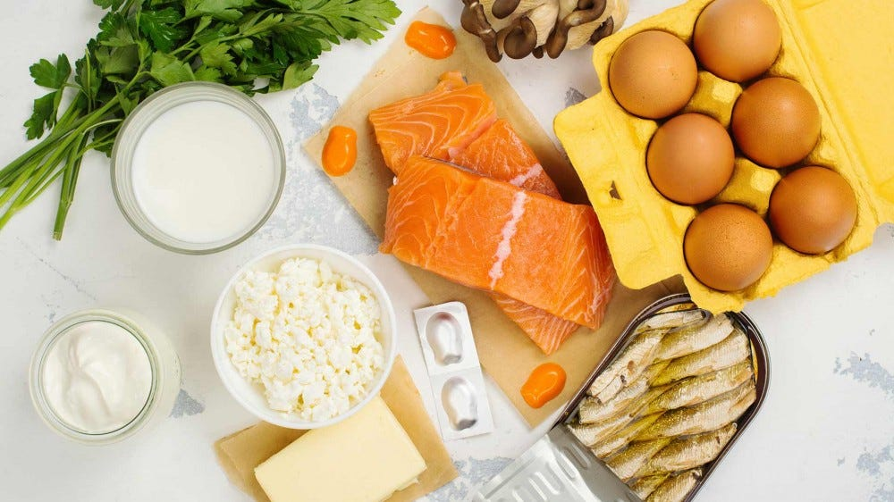 Examples of food with high vitamin D content.