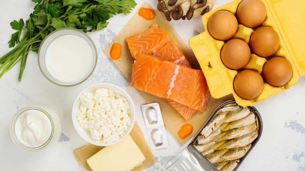 Példák magas D-vitamin tartalmú ételekre.