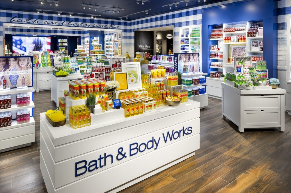 Bath & Body Works store with its fall line on display.