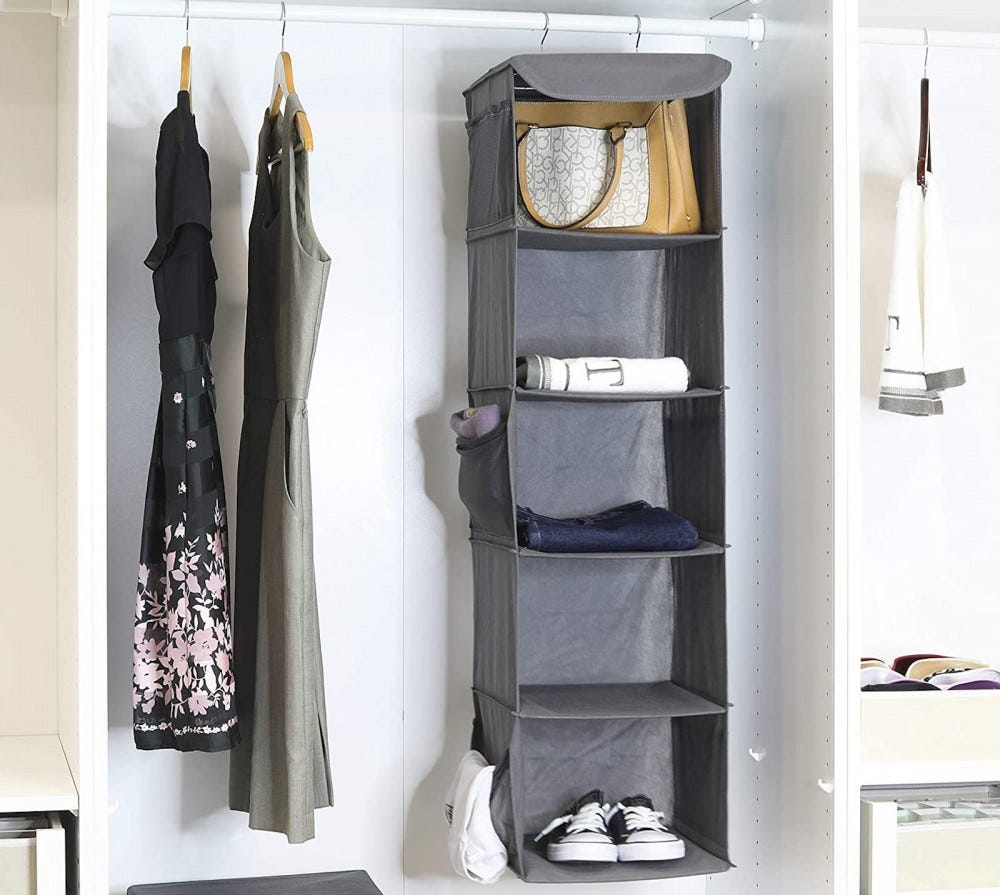 A closet with two hanging dresses and a hanging cubby organizer