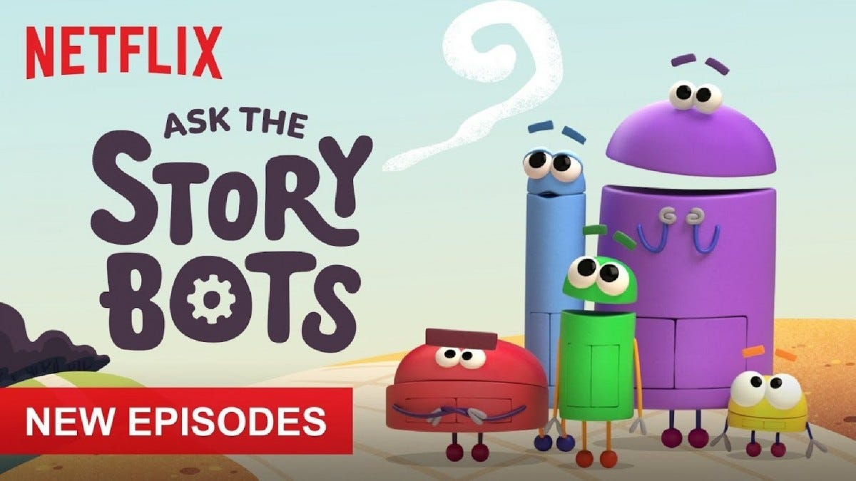 A promotional image for Ask the Story Bots showing the robot friends standing together.