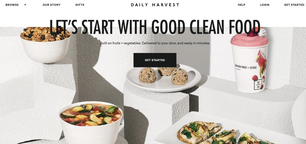 The Daily Harvest website.