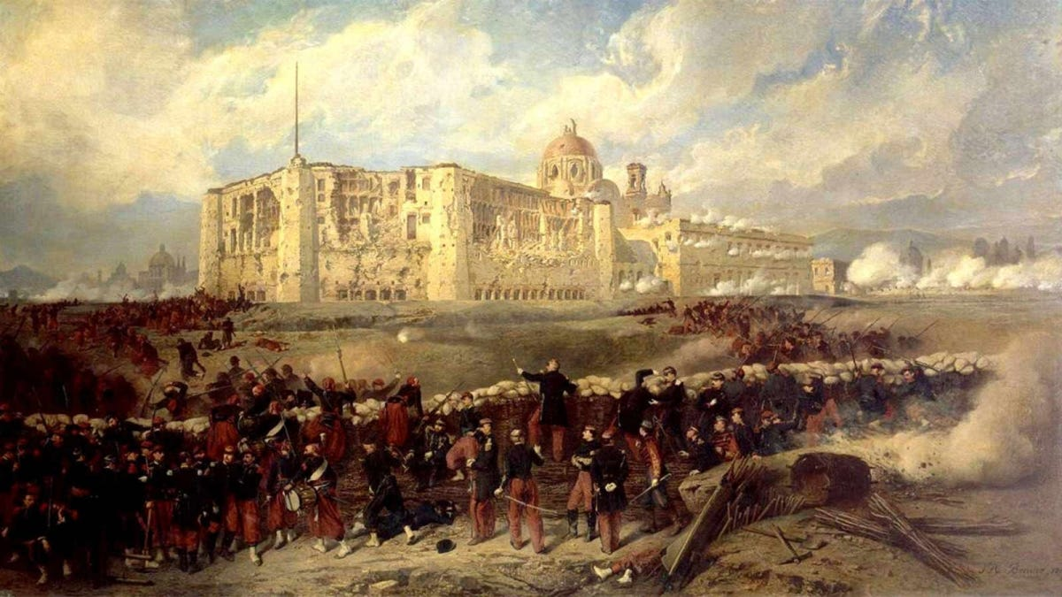A painting depicting the siege of Puebla in March 1863.