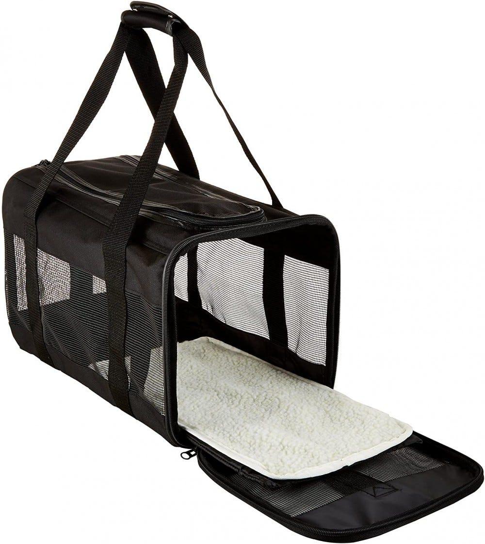 Black Soft-Sided Mesh Pet Travel Carrier.